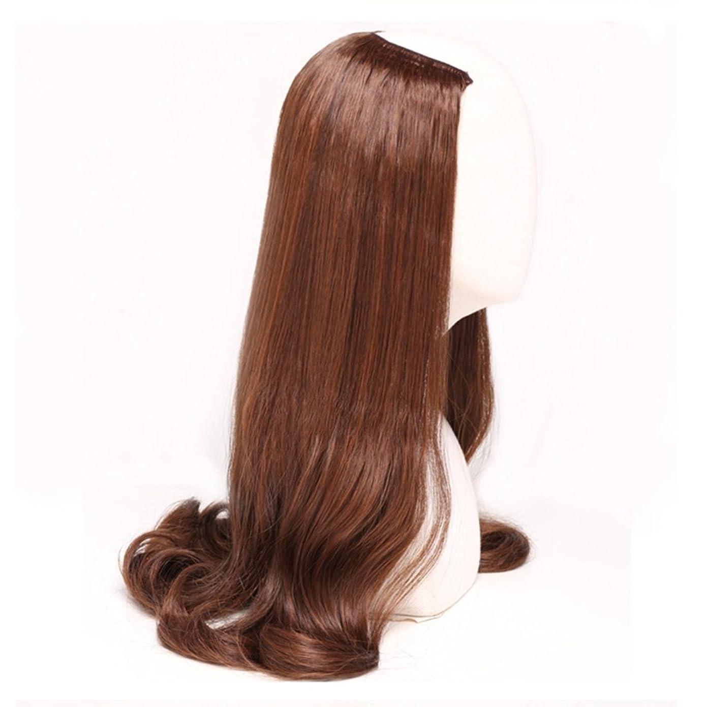 きゅうり大きいメロディーJIANFU 女性のための半分のかつら人間の長いカーリーヘアU字型かつら合成高温ウィッグなしトレースと目に見えない髪220g (Color : ブラウン)