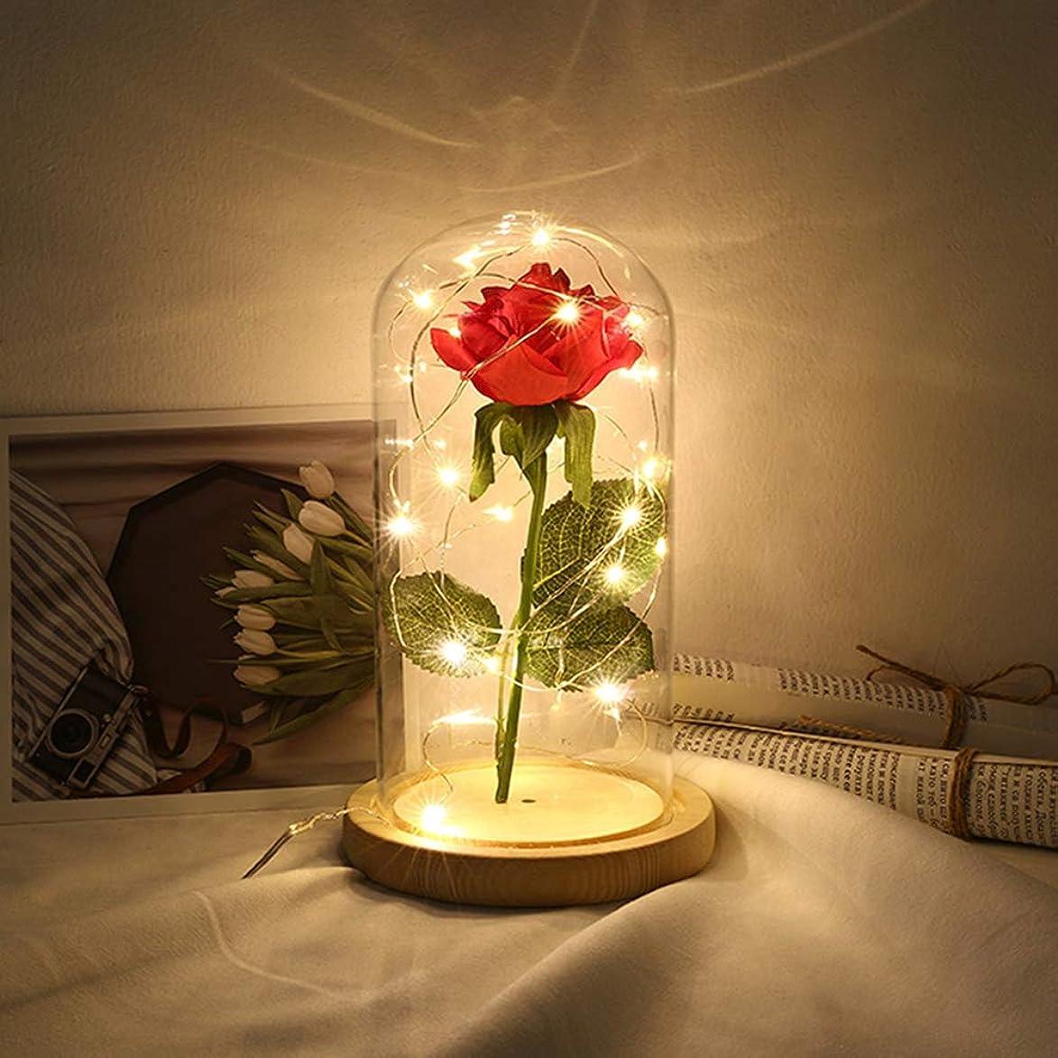 エジプト粒子悩みプリザーブドシルクローズ花20 LED USBストリングライトガラスドームカバーの家の装飾のためのベースクリスマスバレンタインデー記念日誕生日ウェディングギフト彼女のため(ベージュ)
