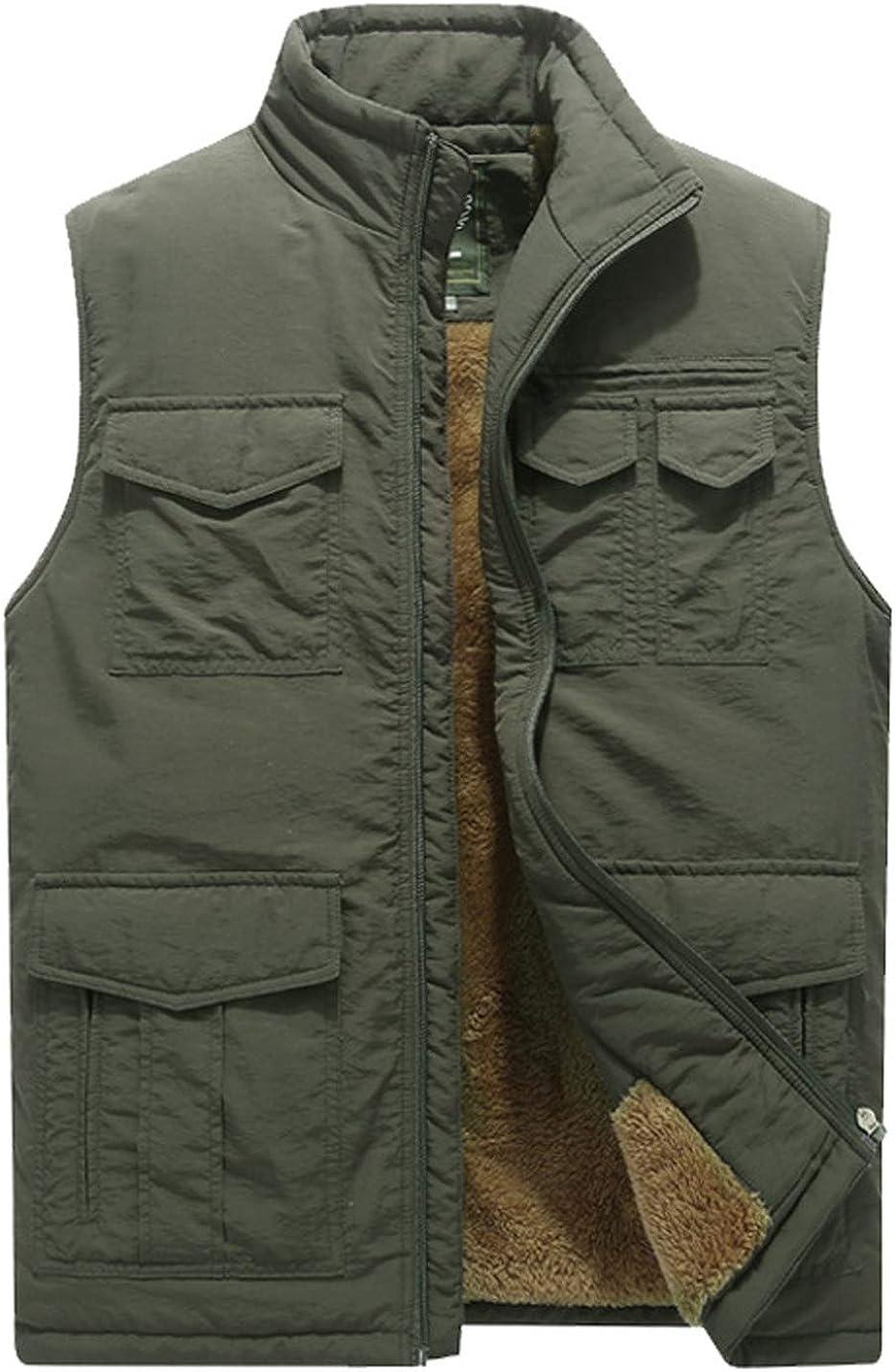 Yimoon Men's Fleece Outdoor Fishing Photo Journalist Multi-Pocket Winter Thick Vest
