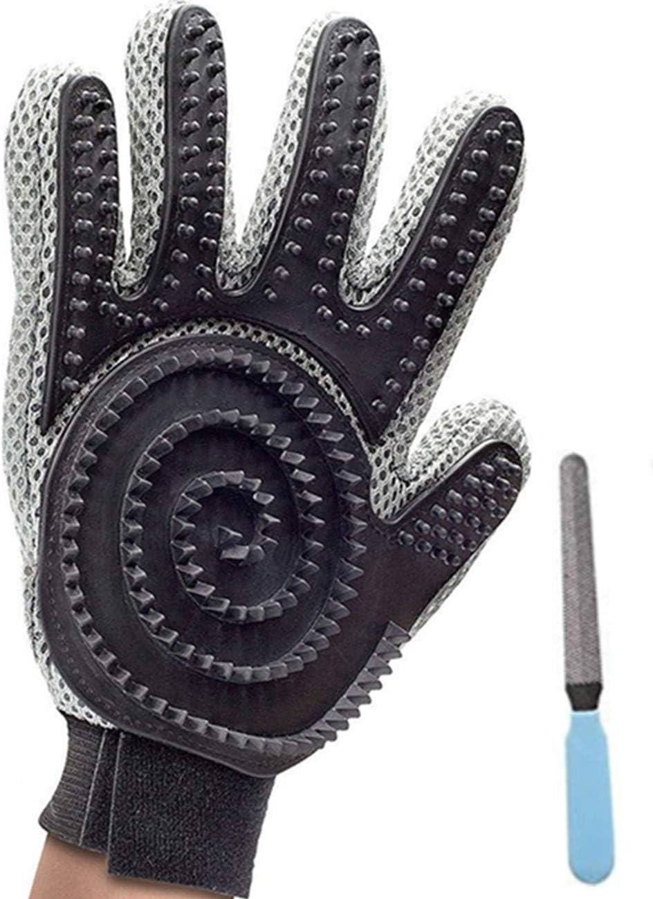 Guantes Manopla de perro de mascota Gato limpieza de baño cepillo guante Silicona True Touch para masaje suave y eficiente Grooming Groomer Eliminación de removedor de pelo Limpiar el guante (Negro)