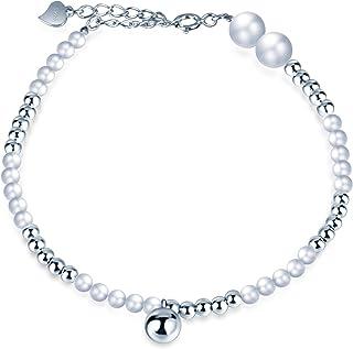 Infinite U - Pulsera de perlas de plata de ley 925 con