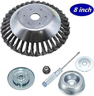 GS 6Pcs 8 Inches Steal Wire Brush Cutter Trimmer Head Set,with Thrust Washer, Rider Plate, Collar Nut, Maintenance Screwdriver, Bevel Washer,Adapter Kit for String Trimmers, Rust Removal, Lawn Mower