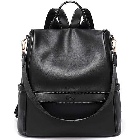 Rucksack Damen Leder Mode Diebstahlsicherer Reiserucksack Anti Diebstahl Schultertasche für Frauen 2 in 1 Schwarz