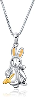 """YFN Sterling Silver Lovely Animal Heart Moon Pendant Necklace Jewelry Gift for Women Girls 18"""""""