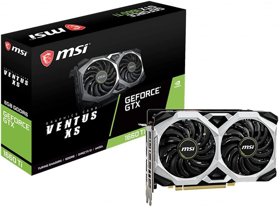 MSI NVIDIA GeForce GTX 1660 Ti Ventus XS 6GB GDDR6 HDMI/3DisplayPort PCI-Express Video Card