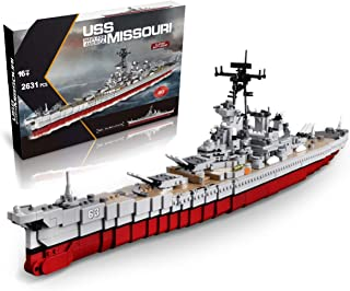 inFUNity WW2 Toys USS Missouri BB-63 Battleship Model (33 inches 2631 Pieces) Building Blocks Compatible with Lego