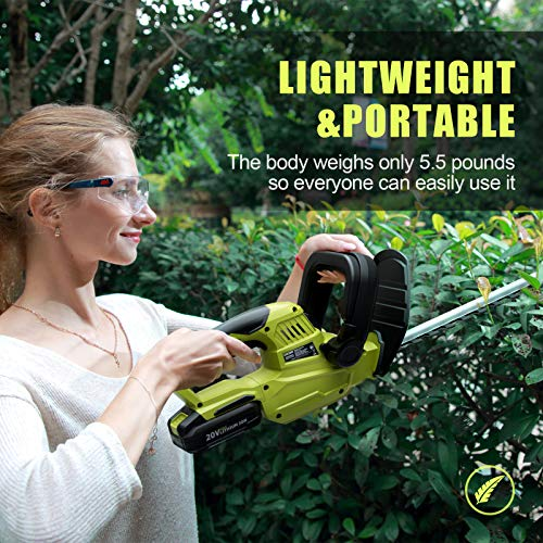 CACOOP 20V 22in Cordless Hedge Trimmer with Battery and Charger,5.5-lb Lightweight Battery Powered Electric Hedge Bush Trimmer Portable for Cutting Shrubs Garden Outdoor