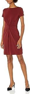 Marca Amazon - Lark & Ro – Vestido retorcido en el centro de punto crepé de manga corta para mujer