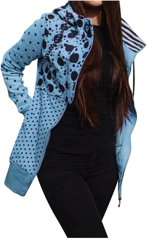 Toeava Women Casual Sweatshirt Full Zip Up Jacket Hoodie Print Comfy Loose Long Sleeve Pullover Coat with Pockets