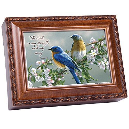Cottage Garden Watchful Birds Woodgrain Inspirational Traditional Music Box Plays Amazing Grace