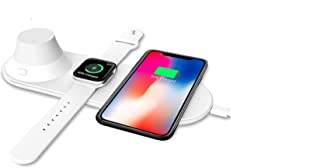 3 in 1 Wireless Charging Pad with Nice Warm Night Light Compatible for iWatch Series 1,2,3,4, iPhone Xs, XS Max, XR, X,8, 8 Plus