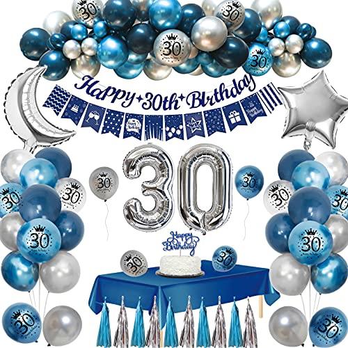 APERIL 30 Anni Decorazioni Compleanno Uomo, Feste di Compleanno in Navy Blu Palloncini,Stampa Digitale Balloons,Palloncino in Foil,Tovaglia Striscione Buon Compleanno Palloncini Compleanno 30 Anno