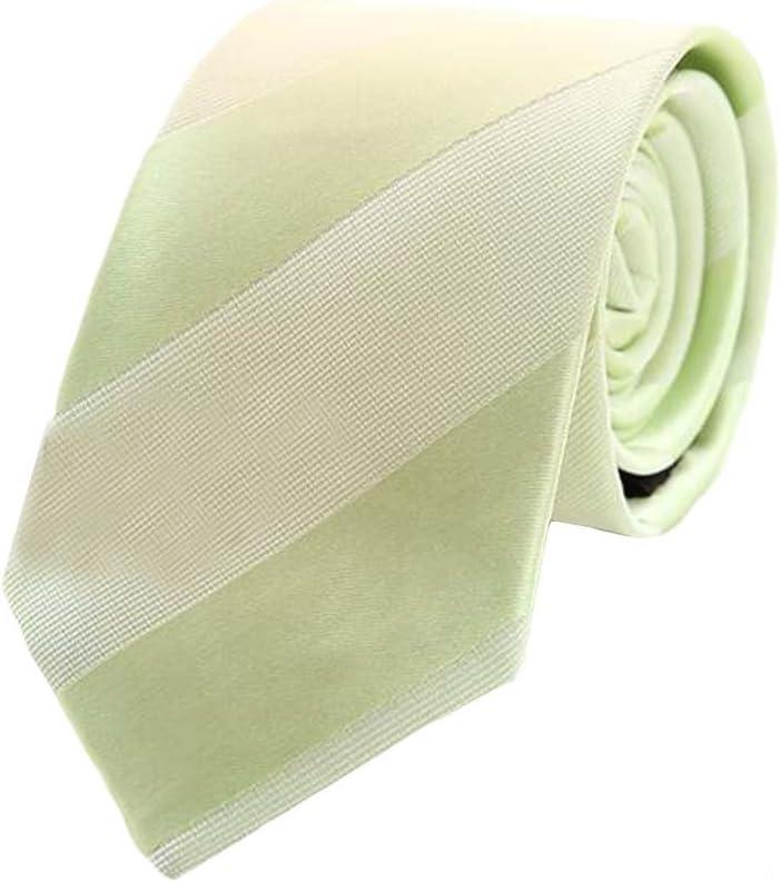 Wukong Direct Formal Wear Mens Polyester Skinny Neckties Light Green Diagonal Stripes Ties 7cm