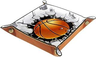 Panier de rangement carré 20,5 × 20,5 cm, avec paniers de basket-ball, boîte de rangement sur table pour maison, bureau, d...