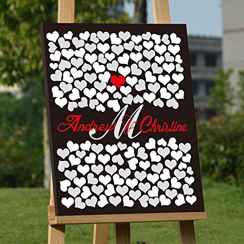 Personalized Wedding Book for Brides Personalized Wedding Guest Book Alternative Black and Red Guestbook Ideas Canvas Modern Guestbook Sign Personalized Wedding Guest Book Frame 150 Hearts Signatures