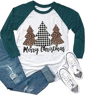 ALLTB Merry Christmas Buffalo Plaid Tree T Shirts Womens 3/4 Raglan Sleeve Leopard Print Holiday Graphic Tees Tops