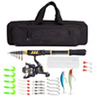 Telescopic Fishing Rod Reel Combo Full Kit Fishing Rod Gear +Spinning Reel+ Line Lures Hooks with Bag