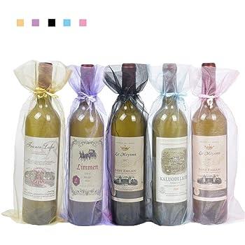 Bolsas para Botellas de Vino de Organza,20 Pack Bolsas de Vino de Organza Bolsas de