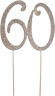 Toyvian 60 Cake Topper pour la fête d'anniversaire ou Les Anniversaires de Cristal Strass décoratif pour Le gâteau