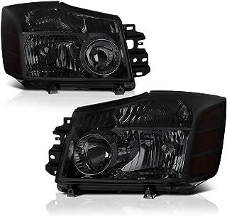 VIPMOTOZ Chrome Smoke OE-Style Headlight Headlamp Assembly For 2004-2015 Nissan Titan & 2005-2007 Armada, Driver & Passenger Side