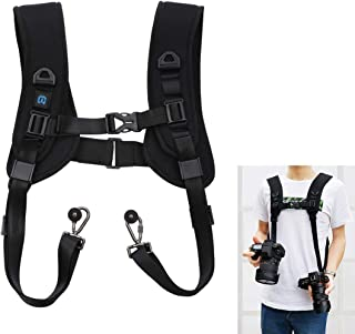 PULUZ Camera Strap, Quick Release Double Shoulder Harness Soft Pad Decompression Foam Strap Belt for DSLR Digital Cameras ...