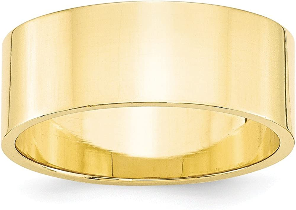 10k Yellow Gold 8mm Flat Wedding Ring Band Size 9 Classic Fine Jewelry For Women Gifts For Her