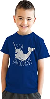 Youth Sea Unicorns Nautical Smiling Narwhal Ocean T Shirt for Kids