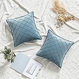 miulee cuscini per divano copricuscini camera da letto decorativi arredo fodere casa moderni elegante morbido resistente in velluto a rete bordi con la cerniera invisibile 2 pezzi 45x45 cm blu lago