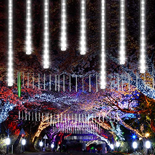 CrazyFire LED Meteor Shower Light Snow Falling Christmas Light with 11.8inch 8 Tube 192 LEDs Waterproof String Lights for Holiday Party Wedding Christmas Tree Decoration (White)
