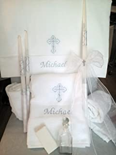 Personalized Baptism Towels, Candles and Oil Sheet for Greek Orthodox Baptism, Bath Towel, Embroidered, Soap and Oil Bottle COMPLETE SET
