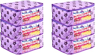 PrettyKrafts Saree Cover Set of 6 Large Flower Prints/Wardrobe Organiser/Clothes Bag_Purple
