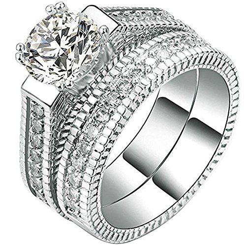 FENDINA 2pcs Womens Wedding Engagement Bands Ring Sets 18K White Gold Plated Princess Cut Eternity Solitaire CZ Crystal Best Anniversary Promise Rings 9
