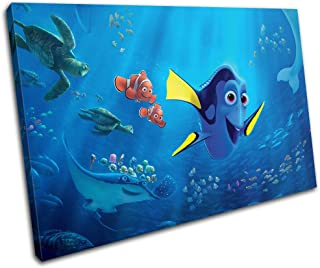 Bold Bloc Design - Finding Dory Nemo Movie Greats 60x40cm SINGLE Canvas Art Print Box Framed Picture Wall Hanging - Hand Made In The UK - Framed And Ready To Hang