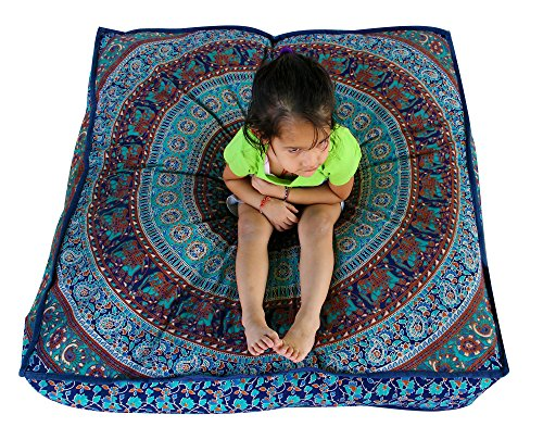 Third Eye Export Indian Mandala Floor Pillow Square Ottoman Pouf Daybed Oversized Cushion Cover Cotton Seating Ottoman Poufs Dog/Pets Bed (Blue 2)