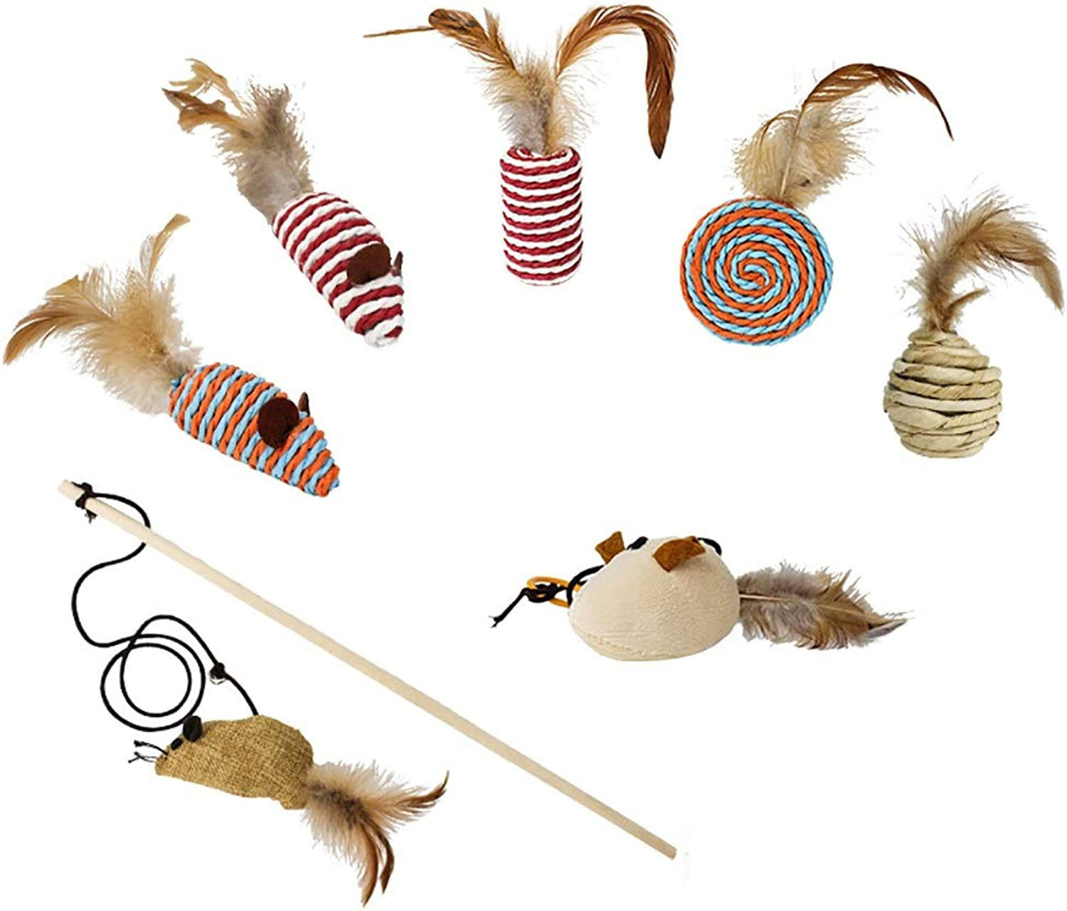 Cat Toy 7 Point Set Cat Jerky Cat Play Feather Toy Mouse Chew Toy Pet Supplies Cat Toy with a Bell Diet Training Stress Relief Exercise Shortage Cancellation 7 Point Set Present