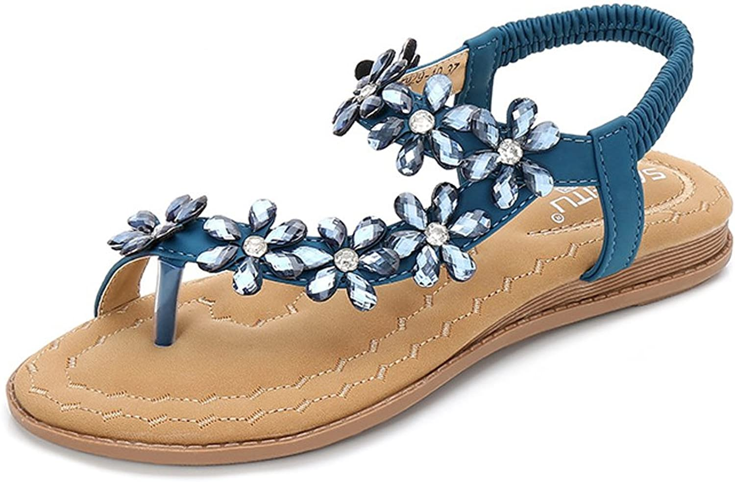 Tuoup Women's Leather Jeweled Flowers Thong Sandles Ladies Sandals