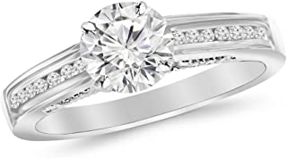 0.75 Ctw Round Channel Set Round 14K White Gold Diamond Engagement Ring (J-K Color VS2 Clarity 0.5 Ct Center)