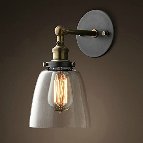 Lixada Vintage Glass Wall Sconces Adjustable Industrial Edison Wall Lamps Retro Wall Bedroom Stair Mirror Lamps E26/E...