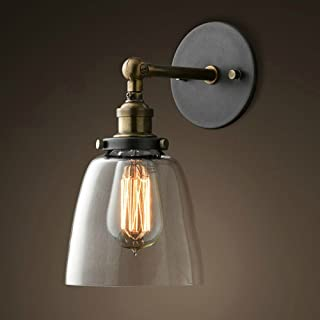 Lixada Vintage Glass Wall Sconces Adjustable Industrial Edison Wall Lamps Retro Wall Bedroom Stair Mirror Lamps E26 Base