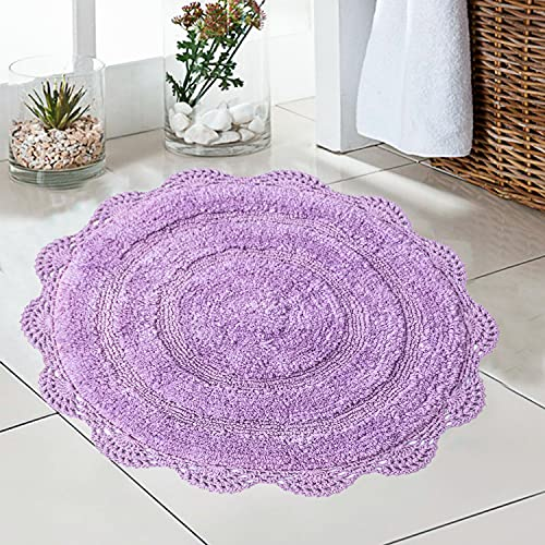 Chardin Home - 100% Pure Cotton - Crochet Round Bath Rug, 24'' Inch Round with Latex Spray Non-Skid Backing, Lavender