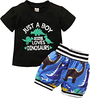 Etosok Toddler Baby Boys' Shorts Set Summer Dinosaur Print Outfit Cotton 2Pcs T-Shirt Set Short Sleeve Clothing(Blue)