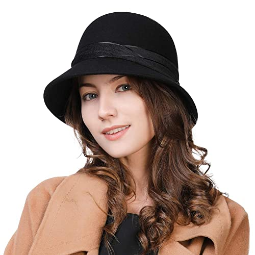 b62a4f98e94 SIGGI 100% Wool Felt Cloche Fedora Hat Ladies Church Derby Party Fashion  Winter