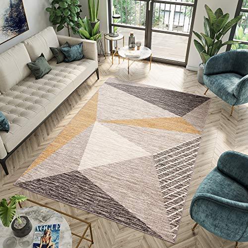 Tapiso Fiesta Alfombra de Salón Dormitorio Juvenil Diseño Moderno Amarillo Crema Marrón Geométrico Fina 240 x 340 cm