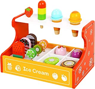 Toy Chest Nyc Wooden Ice Cream Parlor Playset for Kids 2 Years and Up - 15-Piece Ice Cream Toys with Ice Cream Counter, Fr...