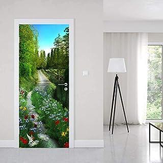 3D Porte Autocollant Sticker Porte 3D Porte Autocollant Forêt Fleur Route Chambre Décoration Accessoires Sticker Mural Sti...