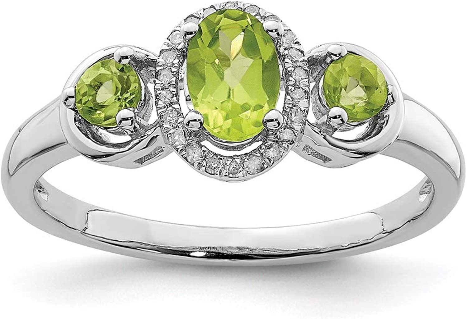 Beautiful Sterling silver 925 sterling Sterling Silver Rhodium Peridot Diam. Ring