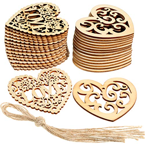 Tatuo 30 Pieces Love Hanging Ornaments Heart Shape Wooden Tags Festival Wooden Embellishments with Twines for Valentine's Day DIY Crafts, 2 Styles