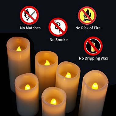 Enpornk Set of 12 Flameless Candles Battery Operated LED Pillar Real Wax Electric Unscented Candles with Remote Control Cycli