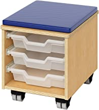Whitney Brothers Teachers Rolling Stool with Trays
