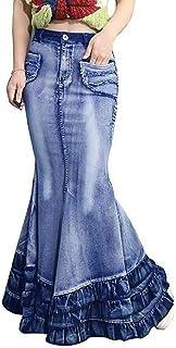 Yeirui Womens Color Gradient Bodycon Pockets Slim Fishtail-Hem Denim Long Maxi Skirts